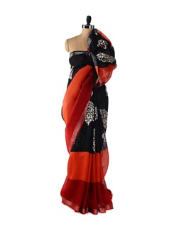 Elegant Red & Black Printed Saree - ROOP KASHISH
