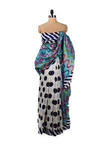 Printed Black & White Polka Saree - ROOP KASHISH