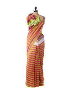 Parrot Green & Pink Striped Saree - ROOP KASHISH