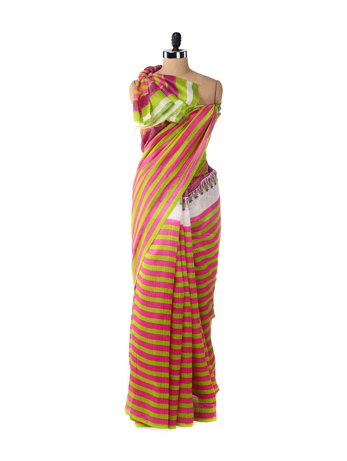 Parrot Green & Pink Striped Saree - ROOP KASHISH
