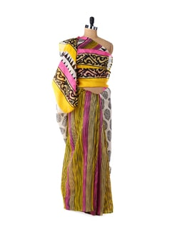 Vibrant Yellow & Pink Designer Saree - ROOP KASHISH