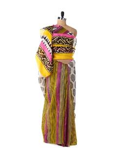 Vibrant Yellow & Pink Designer Saree - ROOP KASHISH