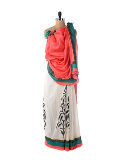 Orange And White Leaf Print Saree - ROOP KASHISH
