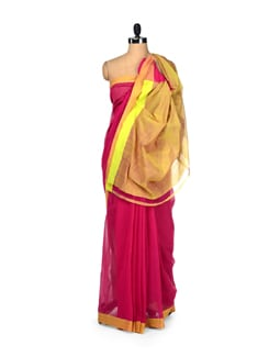 Vibrant Pink And Neon Green Saree - DAMA