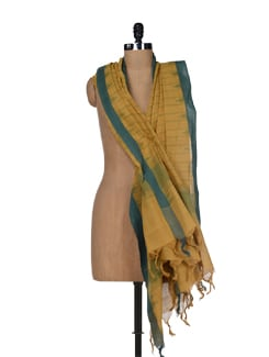 Mustard Yellow And Green Khadi Dupatta - DAMA