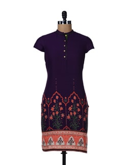 Purple Printed Cotton Kurta - W