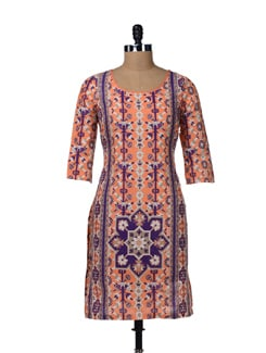 Orange Printed Cotton Kurta - W