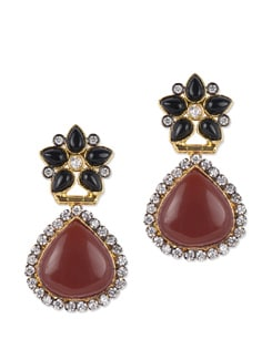Floral Stone Studded Earrings - Jorie Bazaar