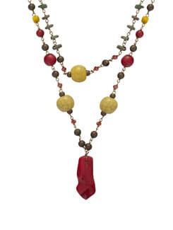 Red & Yellow Beaded Necklace - Ivory Tag