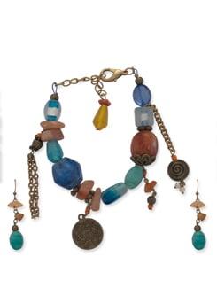 Multicoloured Beaded Bracelet & Earrings - Ivory Tag
