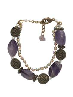 Purple & Gold Stone Bracelet - Ivory Tag