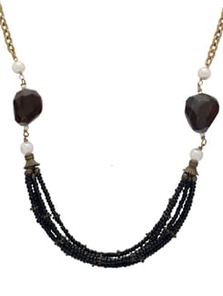 Beaded Black & Gold Necklace Set - Ivory Tag