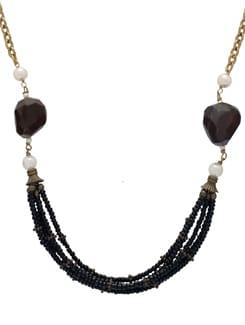 Beaded Black & Gold Necklace Set - Ivory Tag