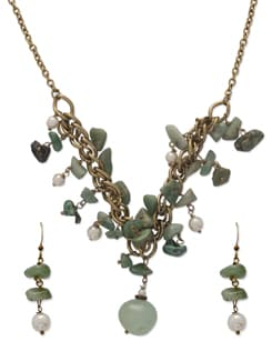Aqua Green & Gold Necklace Set - Ivory Tag