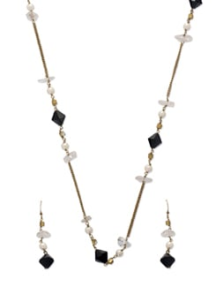 Delicate Gold & Black Jewellery Set - Ivory Tag