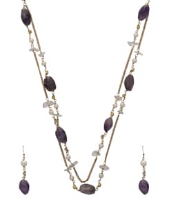 Ethnic Purple-Gold Jewellery Set - Ivory Tag
