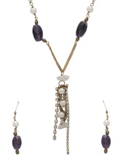 Fancy Purple & Gold Jewellery Set - Ivory Tag