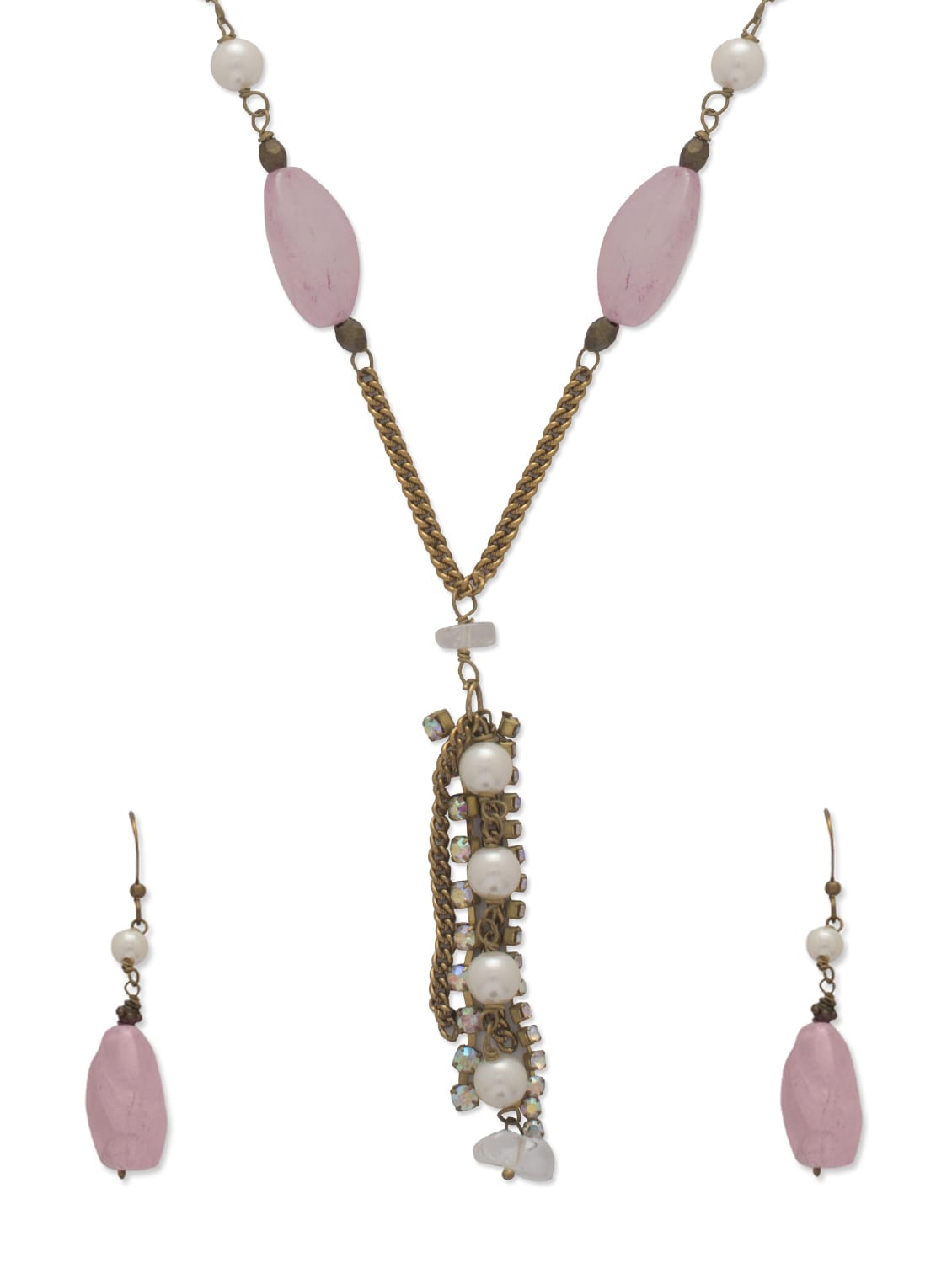 Fancy Pink & Gold Jewellery Set - Ivory Tag