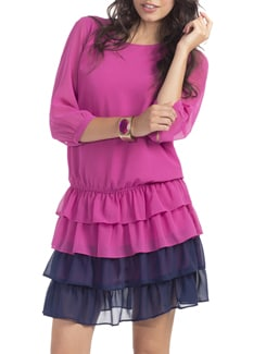 Fuchsia Navy Suzy Blouson Tier Dress - PrettySecrets