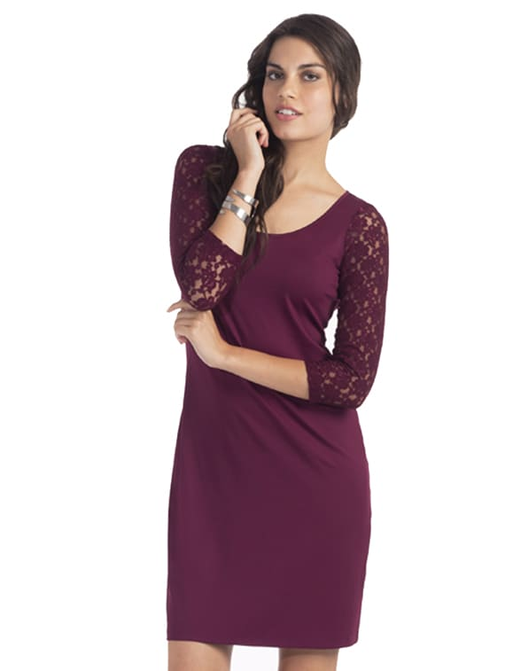 Plum Sexy Lace Dress - PrettySecrets