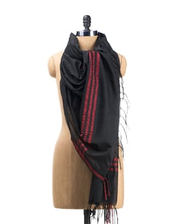 Black And Red Striped Benaras Dupatta - Seasons By Surekha