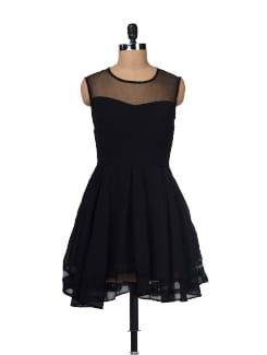 Sleeveless Black Mesh Dress - Besiva