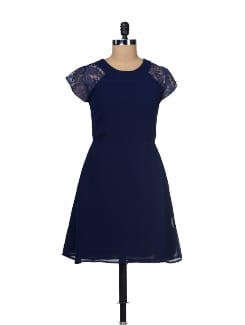Navy Lace Sleeves Dress - Besiva