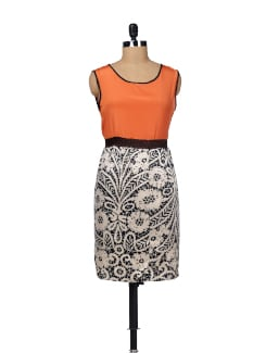 Sleeveless Orange Printed Dress - Besiva