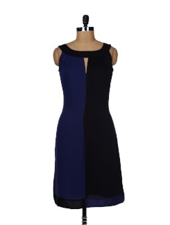 Chic Black & Blue Sleeveless Dress - Besiva