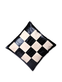 Black And White Check Pattern Cushion Cover - Brune