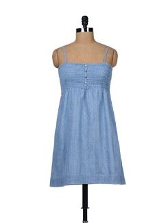 Dotted Denim Mini Dress - Chemistry