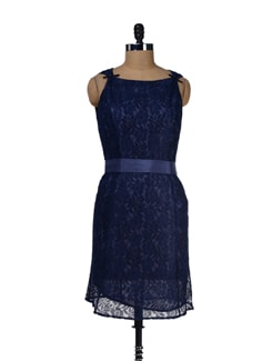 Navy Blue Lace Dress - LY2
