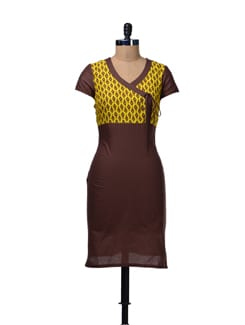 Brown & Yellow Printed Angrakha Kurta - Aurelia