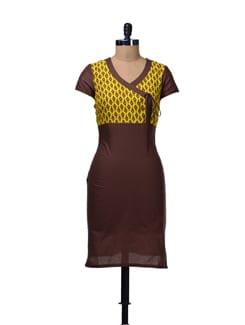 Brown & Yellow Printed Angrakha Kurta - Aurelia