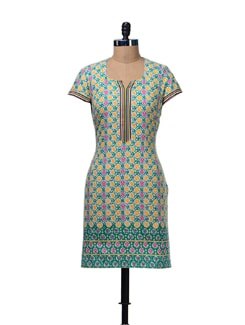 Green & Yellow Printed Kurta - Aurelia