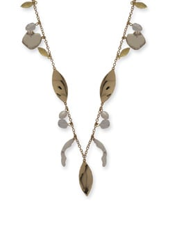 Artful Gold Leaf Necklace - Ivory Tag