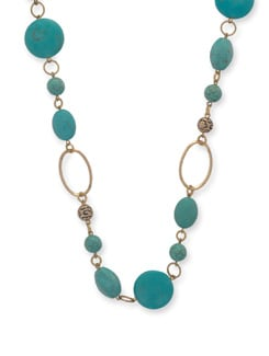 Elegant Turquoise Blue & Gold Necklace - Ivory Tag