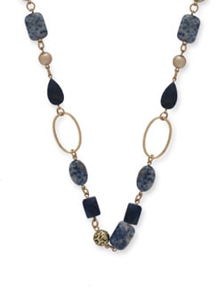 Deep Blue & Gold Designer Necklace - Ivory Tag