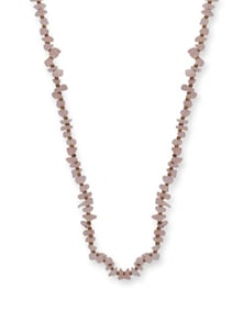 Light Pink & Gold Long Necklace - Ivory Tag