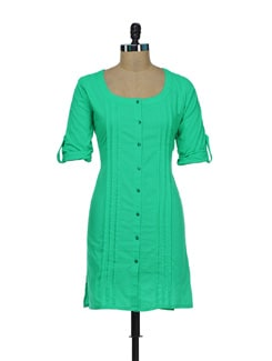 Pleated Green Shirt Style Kurti - Diva