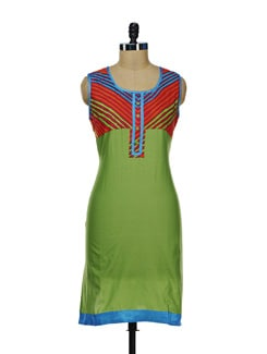 Olive Green Kurta With Striped Yoke - Diva