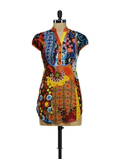 Stylish Orange Printed Kurti - Diva