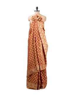 Brown Benarasi Crepe Saree - Seasons By Surekha