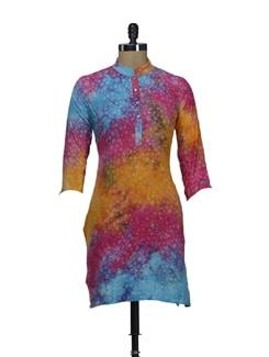 Multicolored Self-Printed Tie & Dye Kurta - SHREE