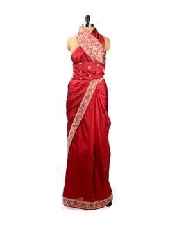 Rich Red Benarasi Silk Saree With Border - Seasons By Surekha