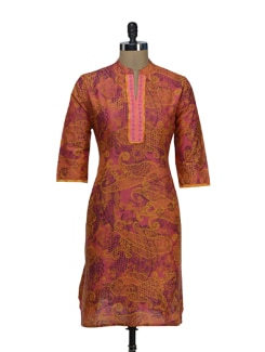 Designer Pink & Orange Printed Kurta - SHREE