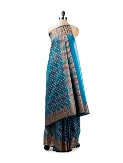 Royal Blue Benarasi Saree - Seasons By Surekha