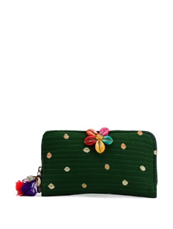 Quilted Green Bandhani Wallet - The House Of Tara