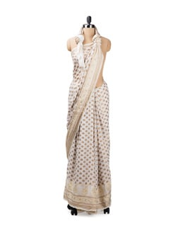 White And Gold Silk Chiffon Benarasi Saree - Seasons By Surekha