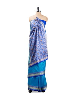 Blue Benarasi Silk Saree - Seasons By Surekha